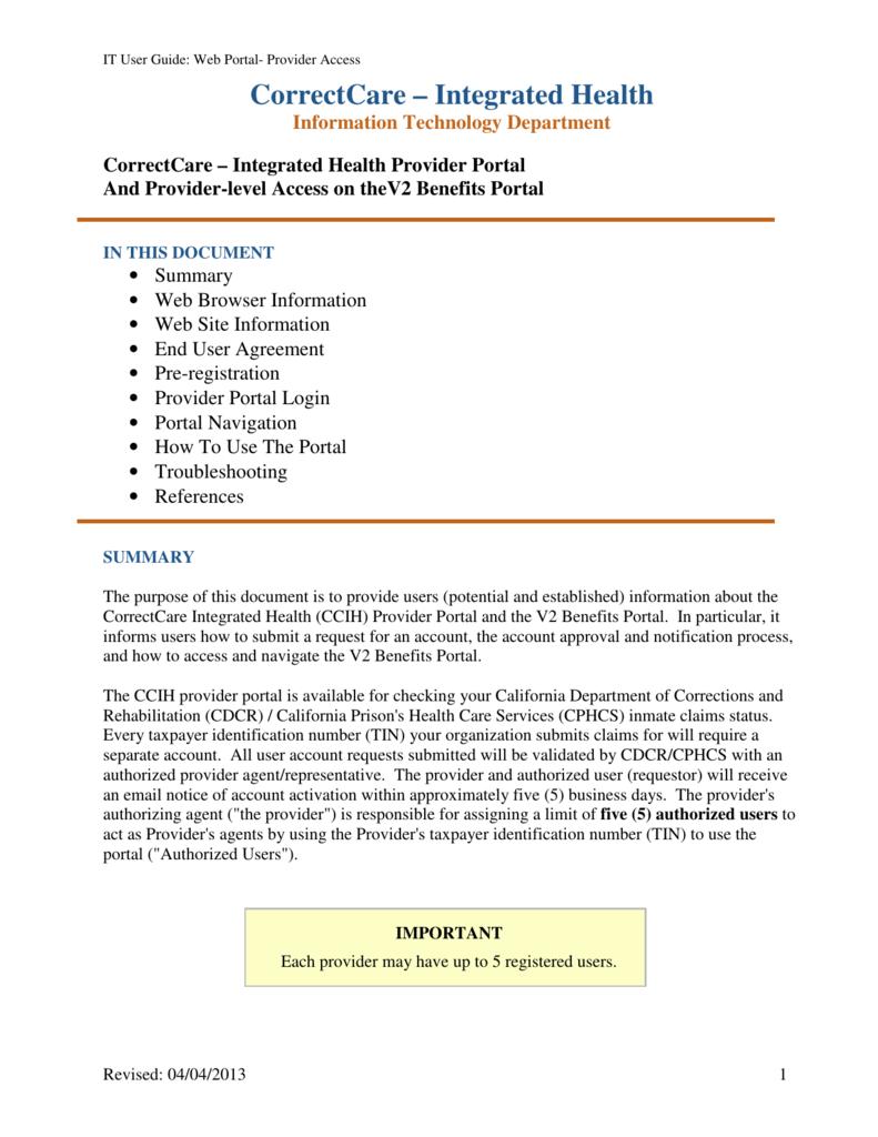 Provider Portal User Guide - the CorrectCare – Integrated Health