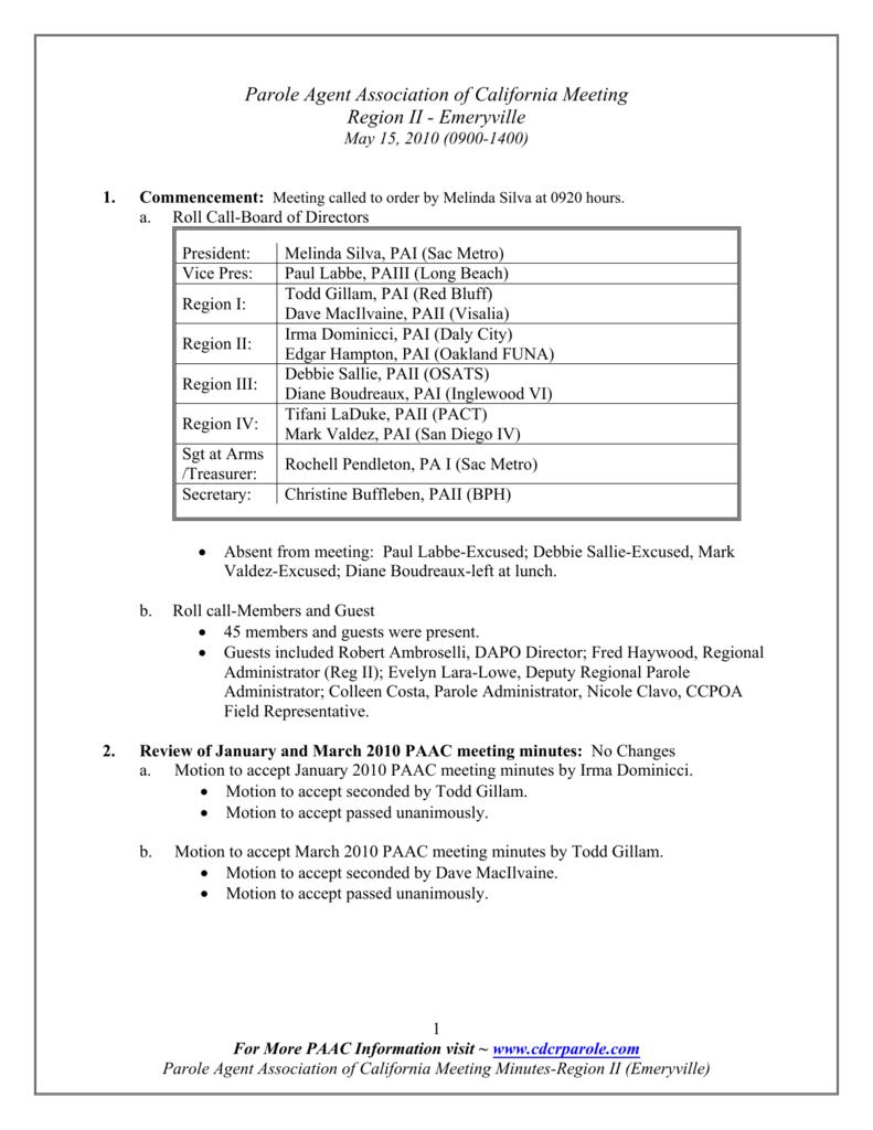 Parole Agent Association of California Meeting Region II