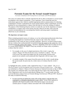 Forensic Exams for the Sexual Assault Suspect