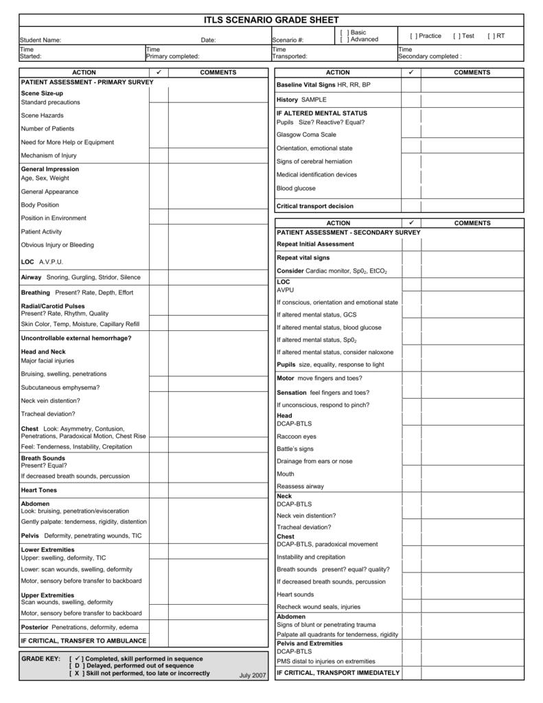itls scenario grade sheet