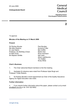 Minutes of the Meeting on 31 March 2009