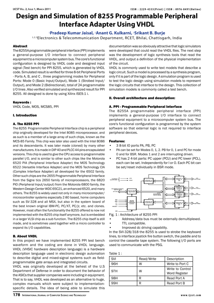 Design and Simulation of 8255 Programmable Peripheral Interface