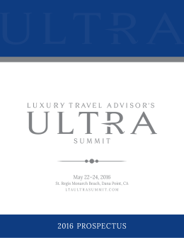 Prospectus - Luxury Travel Advisor's ULTRA Luxury Summit