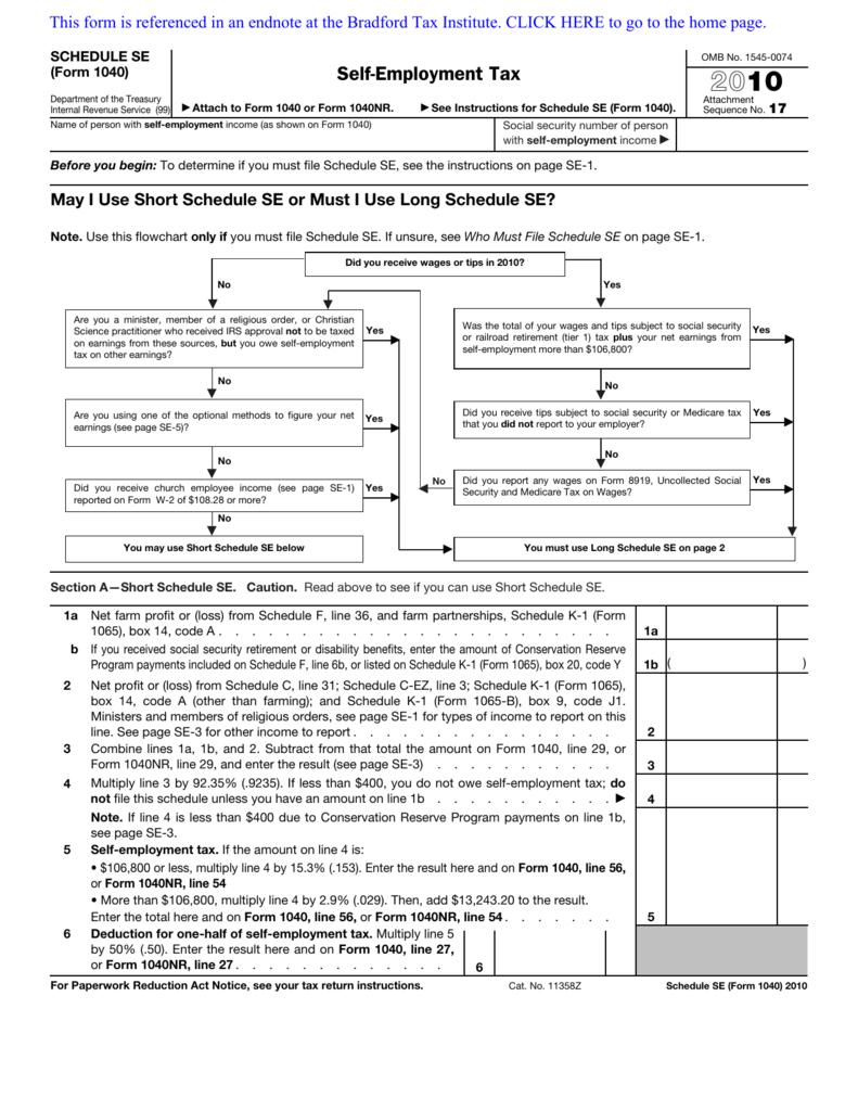 2010 Form 1040 (Schedule SE)
