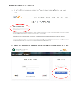Rent Payment How to: Set Up Your Account 1. Go to http