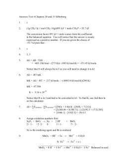 Answers Test 4 Chapters 19 and 20 Silberberg