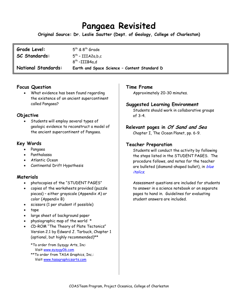 Worksheets Pangaea Worksheet pangaea revisited