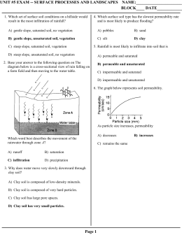UNIT #5 EXAM -- SURFACE PROCESSES AND LANDSCAPES