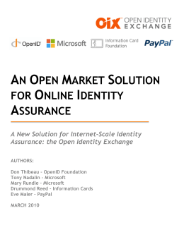 An Open Market Solution for Online Identity Assurance
