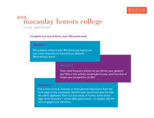 essay - Macaulay Honors College