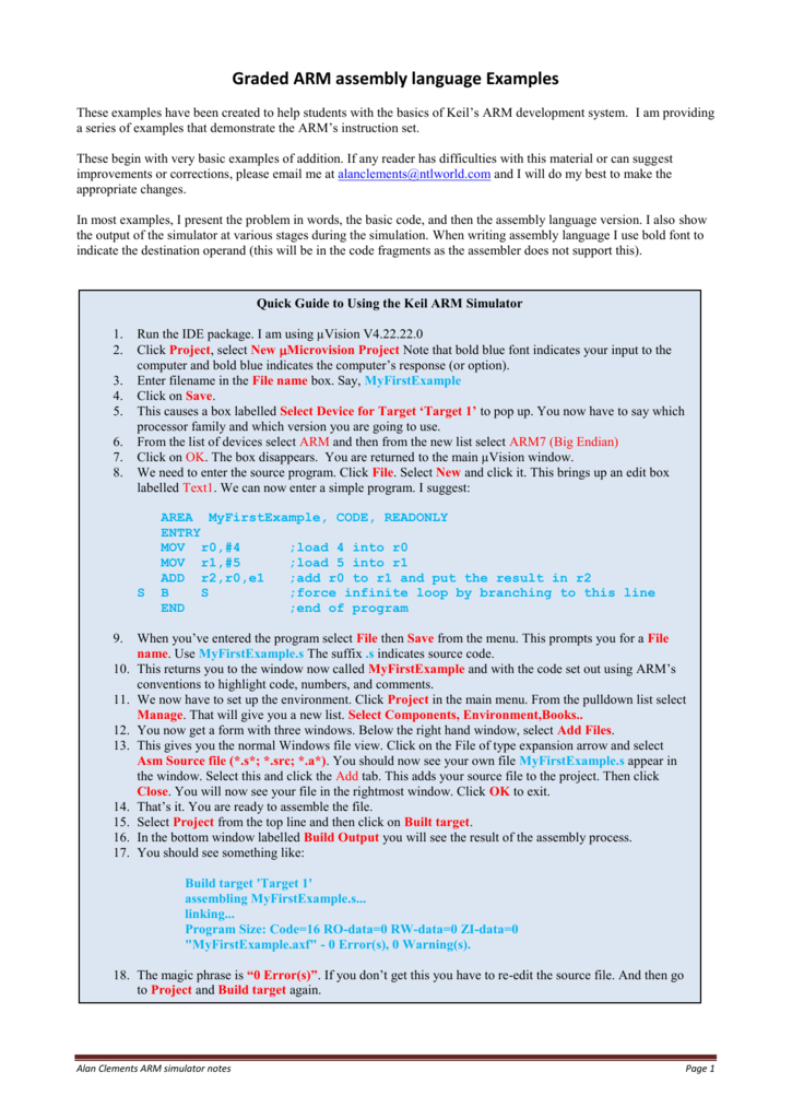 Graded ARM assembly language Examples