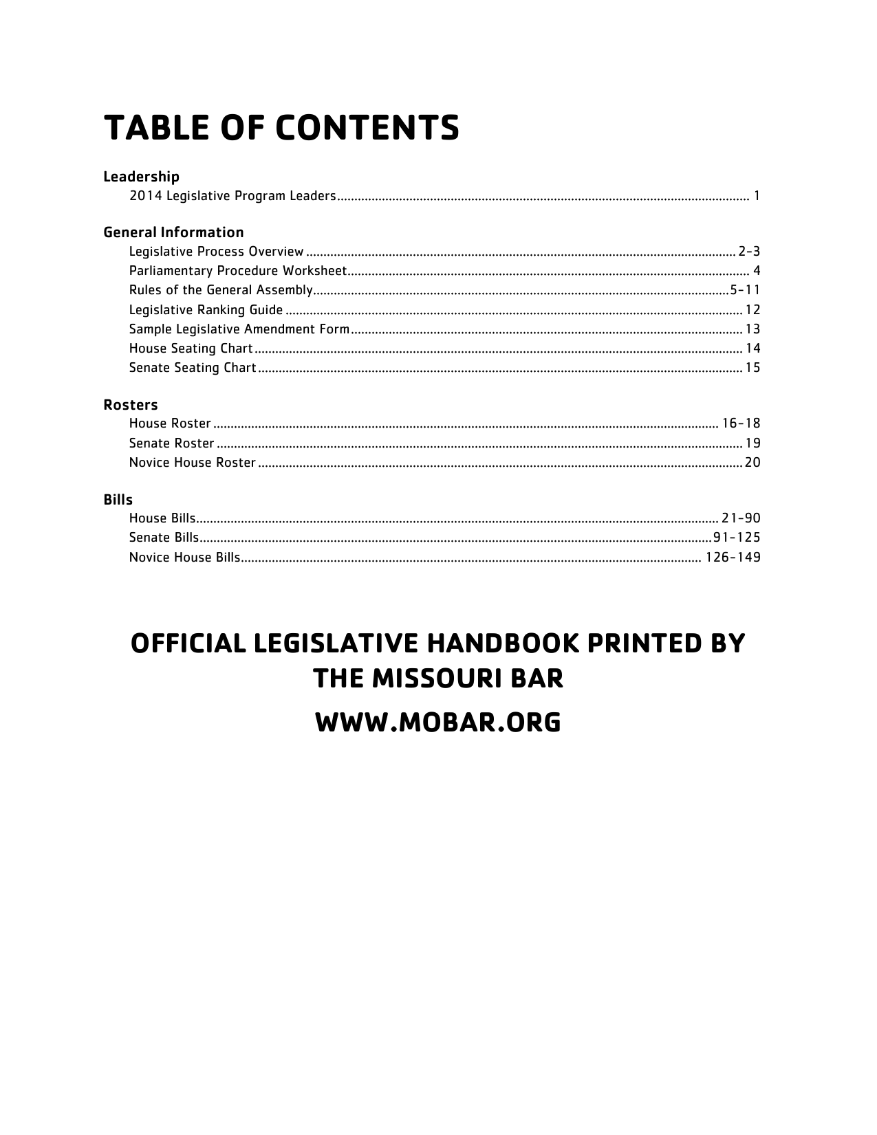 Table Of Contents Missouri Ymca Youth In Government