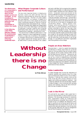 Without Leadership there is no Change
