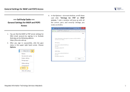 General Settings for IMAP and POP3 Access >>> Self