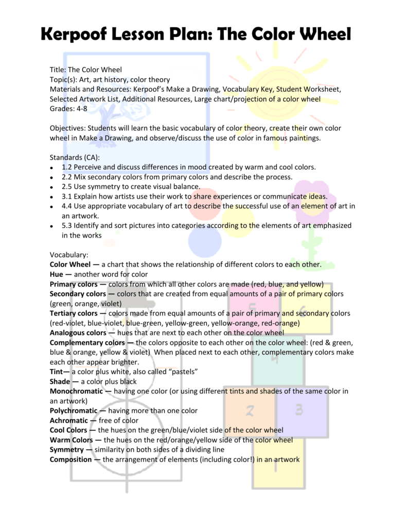 Kerpoof Lesson Plan The Color Wheel
