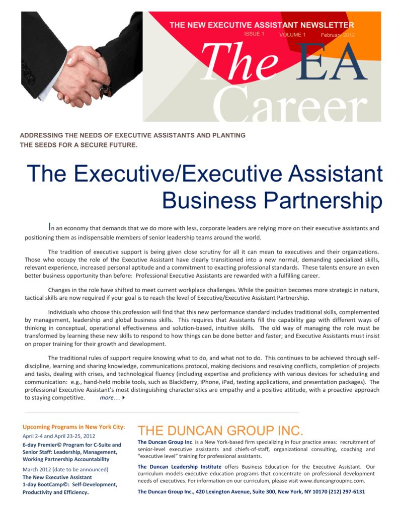 The Executive/Executive Assistant Business Partnership