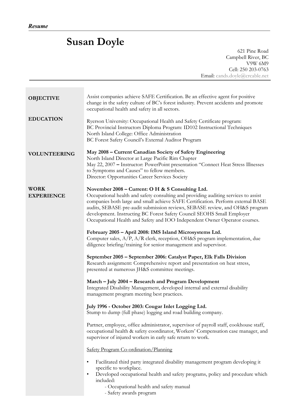 Curriculum Vitae - BC Forest Safety Council