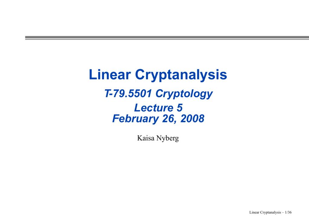slides (linear cryptanalysis)