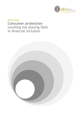 AFI Policy Note, Consumer Protection: Leveling the Playing Field in