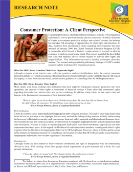 Research Note - Consumer Protection