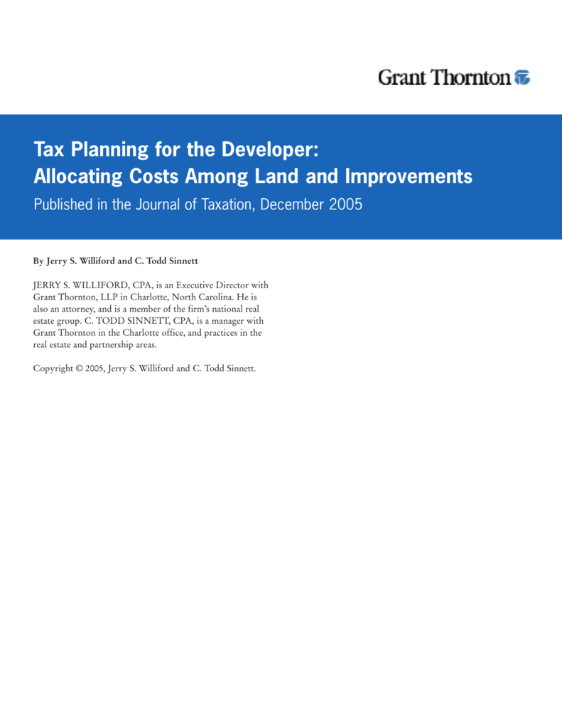 Tax Planning for the Developer: Allocating Costs Among Land and