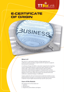 certificate of origin F - Ministry of Trade and Industry