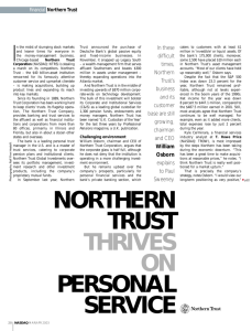 NORTHERN TRUST THRIVES ON PERSONAL