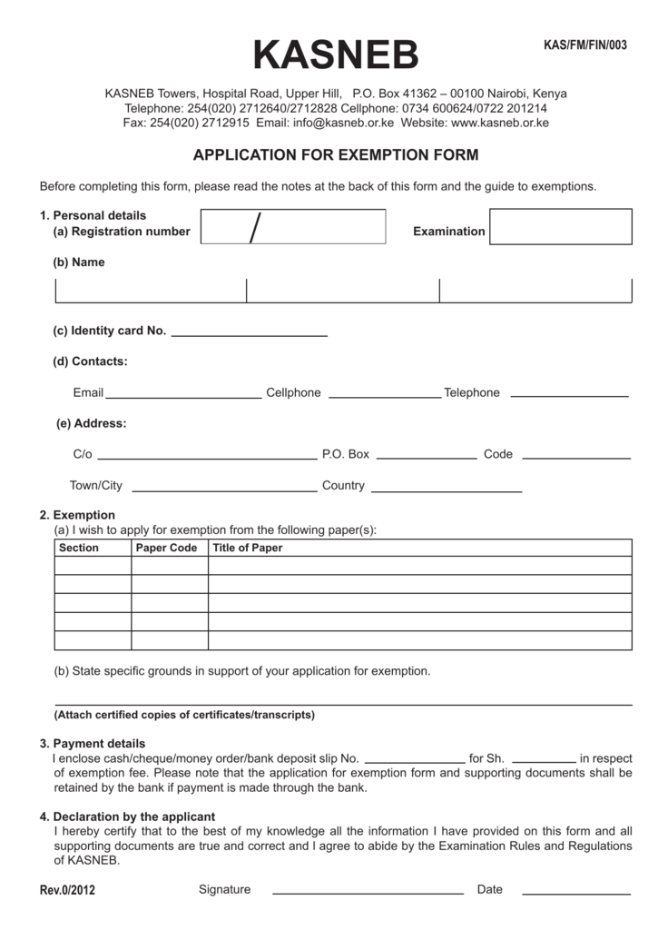 KASNEB Application-for-Exemption-Form