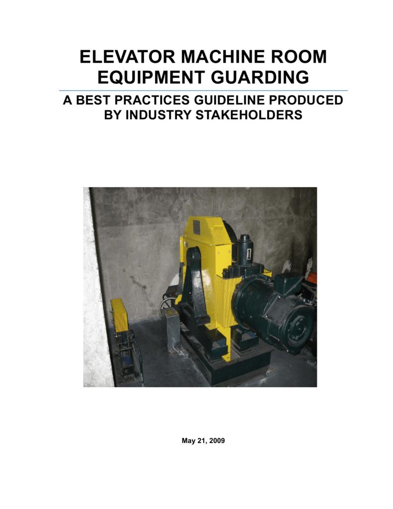 elevator machine room equipment guarding