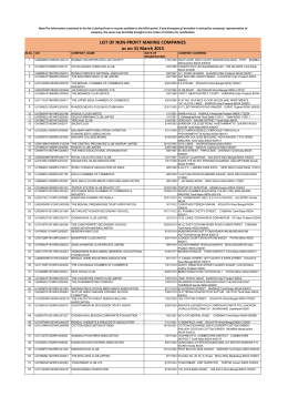 LIST OF NON-PROFIT MAKING COMPANIES as on 31 March 2015