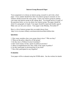 Interest Group Research Paper Your assignment is to