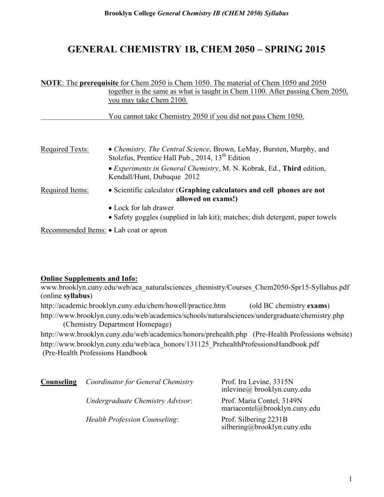 general chemistry 1b, chem 2050 – spring 2015