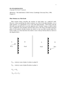 1 PLATE KINEMATICS (Reference - The Solid Earth, C.M.R. Fowler