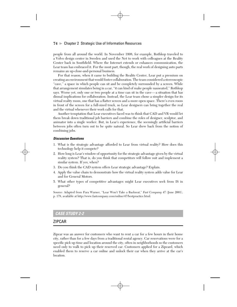 case study 2-2 zipcar