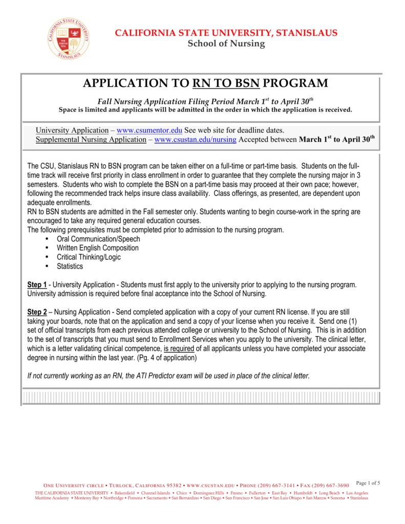 RN To BSN Nursing Application