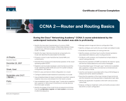 CCNA 2—Router and Routing Basics