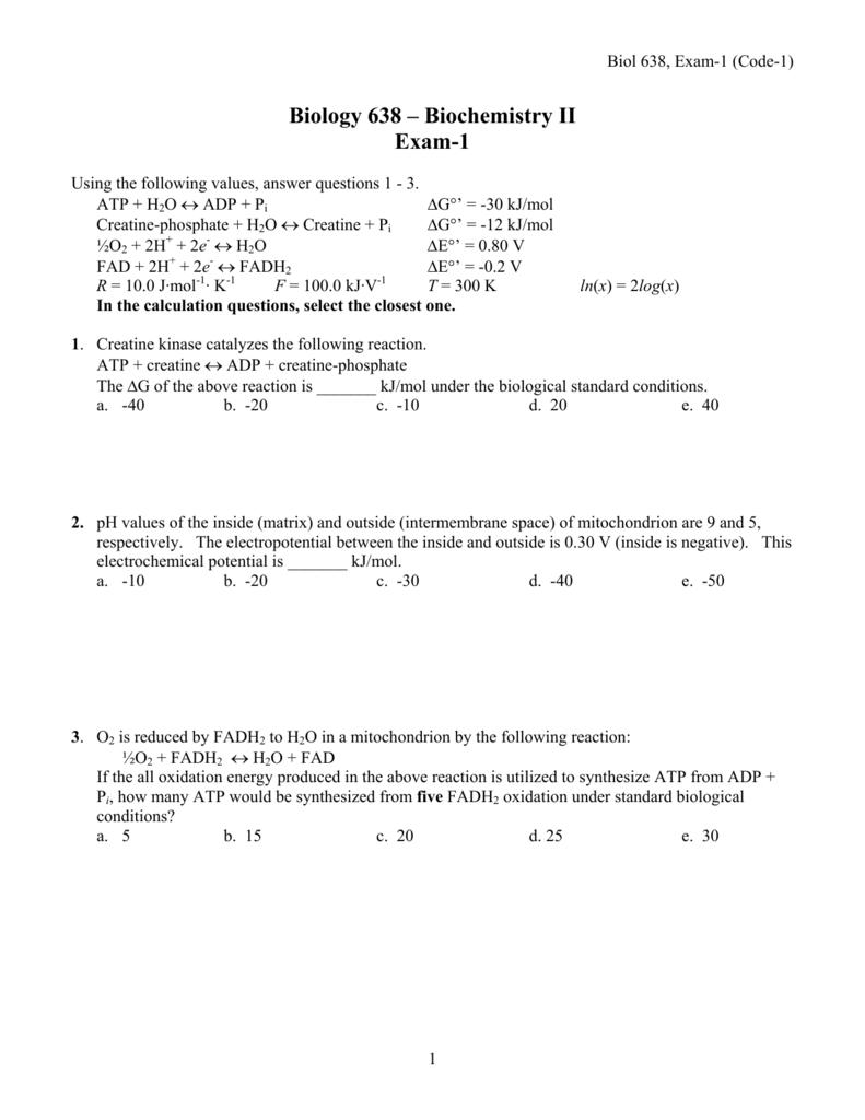 Cómo descargar Biology 638 – Biochemistry II Exam-1