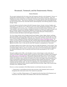 Hexateuch, Tetrateuch, and the Deuteronomic History