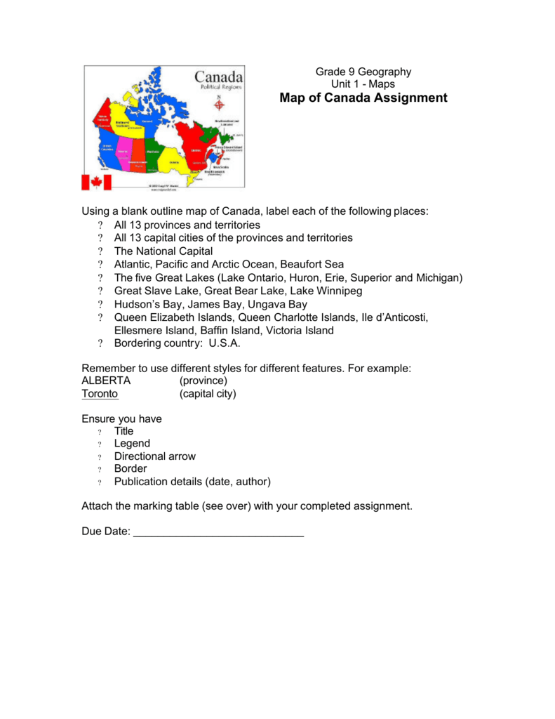 Map Of Canada Grade 9 Geography.Map Of Canada Assignment