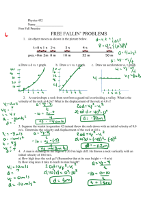 Physics 2204 Worksheet 5 Freefall