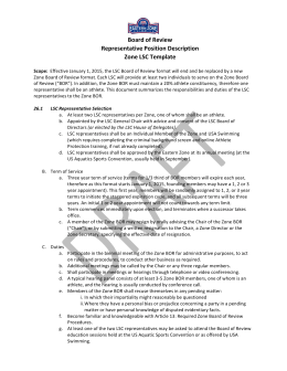 Eastern Zone Board of Review Representative Position Description