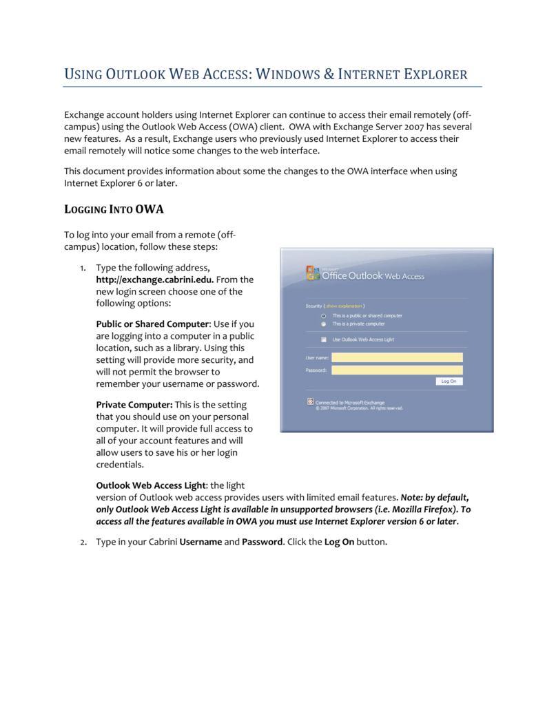 using outlook web access: windows & internet explorer
