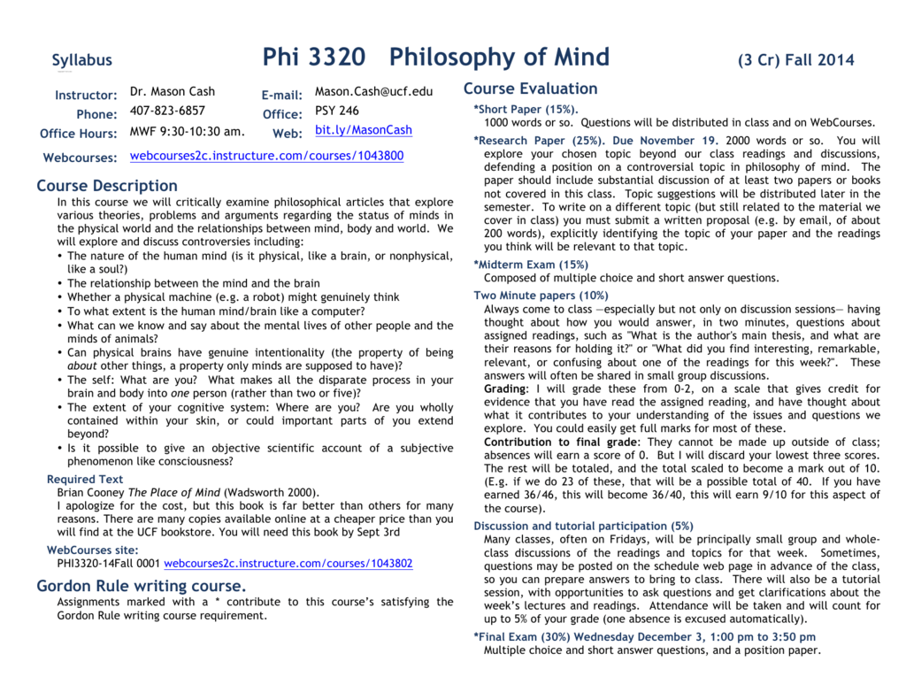 Phi 3320 Philosophy of Mind - University of Central Florida