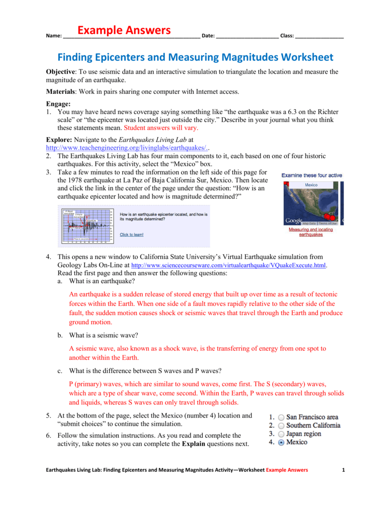 Worksheets Earthquakes And Seismic Waves Worksheet example answers teach engineering