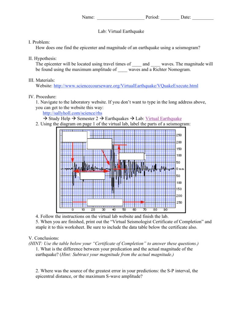 worksheet Find The Epicenter Worksheet name period date lab virtual earthquake i