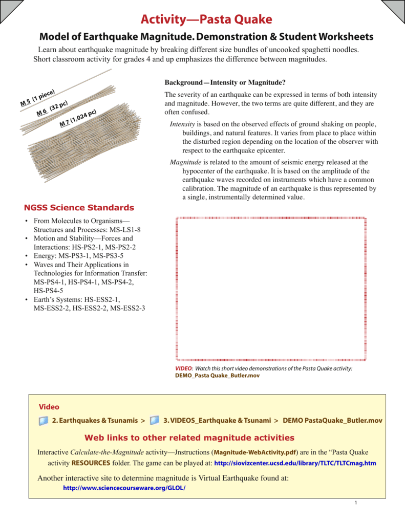 Labwrite For Middle School Earthquake Worksheet Labwrite