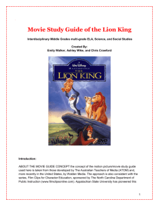 Movie Study Guide of the Lion King
