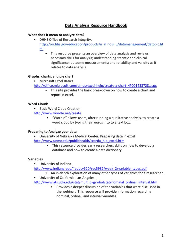 Data Analysis Resource Handbook