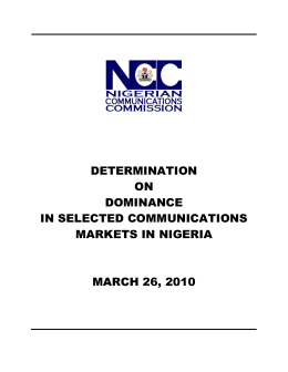 determination on dominance in selected communications markets in