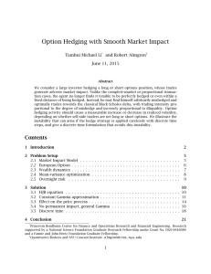 Option Hedging with Smooth Market Impact